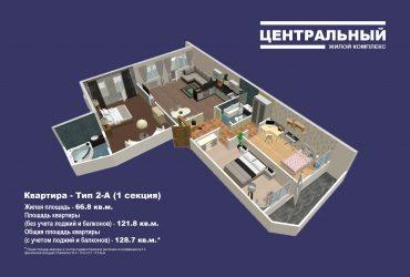 Двухкомнатная квартира в ЖК Центральный